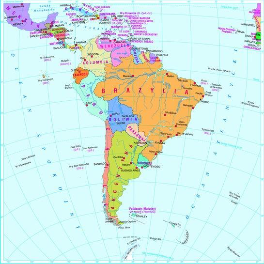 Swiatpodrozy Pl Atlas Ameryka Poludniowa Mapa Polityczna