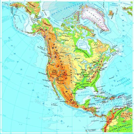 Ameryka Północna - mapa: fizyczna