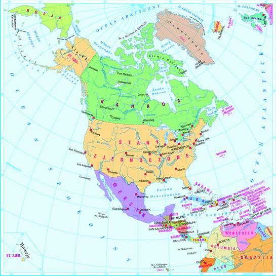 MAPA AMERYKI PÓŁNOCNEJ