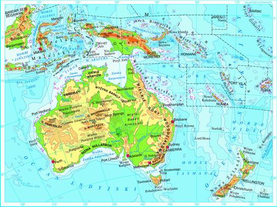 Swiatpodrozy Pl Atlas Australia I Oceania Mapa Fizyczna On
