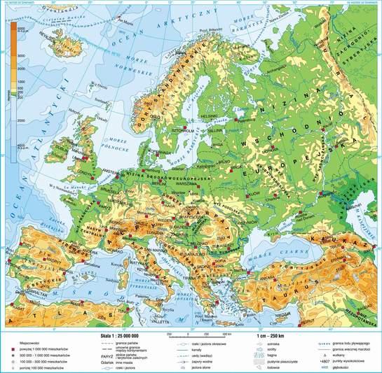 Swiatpodrozy Pl Atlas Europa Mapa Fizyczna On Line