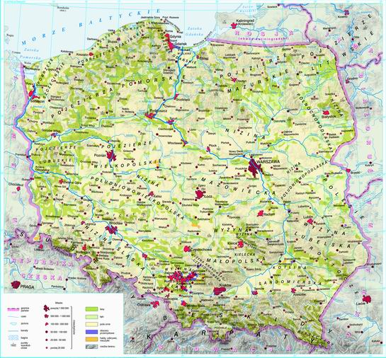 Swiatpodrozy Pl Atlas Polska Mapa Krajobrazowa On Line